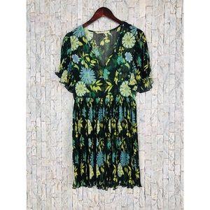 Zara Basic Black Floral babydoll Sheer Dress